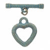 Toggle - Fancy Heart 21x27mm Patina Finish